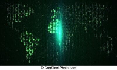 balayage, arrière-plan vert, monde numérique, boucle