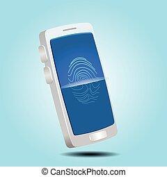 balayage, chèque, concept., scurity, smartphone, fingerprint., illustration, vecteur