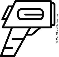 balayage, contour, style, icône, thermomètre, numérique