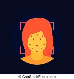 balayage, plat, facial, icône, vecteur, figure, reconnaissance
