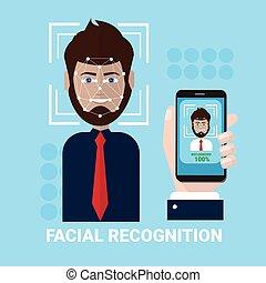 balayage, smartphone, biométrie, tenue, balayage, mâle, figure, accès, concept, facial, main, technologie, reconnaissance