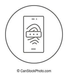 balayage, téléphone portable, empreinte doigt, ligne, icon.