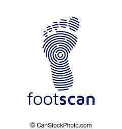 balayage, vecteur, pied, logo, technologie, icône