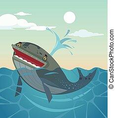 baleine, plat, character., illustration, vecteur, sourire, dessin animé, heureux