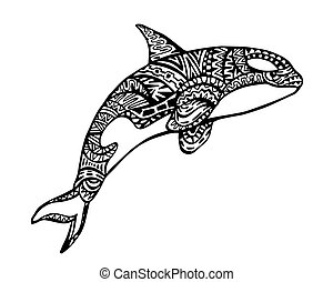 baleine, tueur, zentangle, illustration