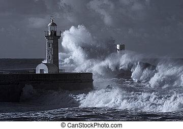 balise, orage, bouche, vieux, rivière