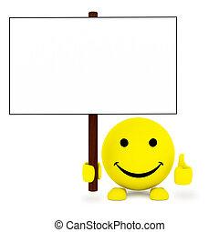 balle, affiche, main, type caractère blanc, heureux