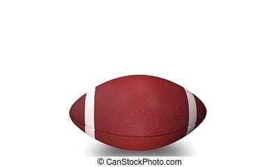 balle, animation, football, tourner, américain, position., endroit, horizontal, 3d