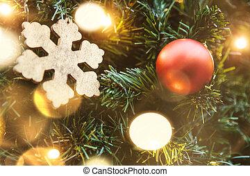 balle, arbre, noël, garlands., flocon de neige, rouges