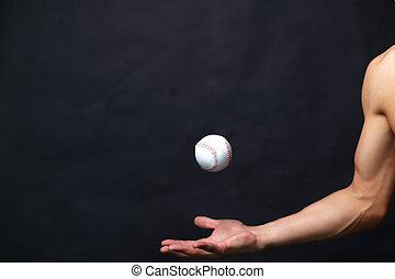 balle, base-ball, jouer