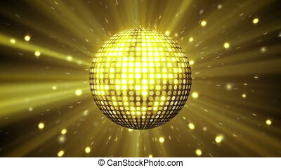 balle, boucle, disco, jaune, briller