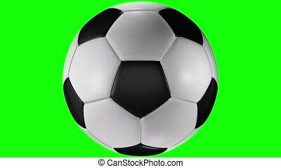 balle, centre, classique, animation, screen., rotation, football, 3d