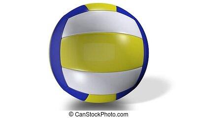 balle, centre, coloré, animation, screen., volley-ball, rotation, 3d