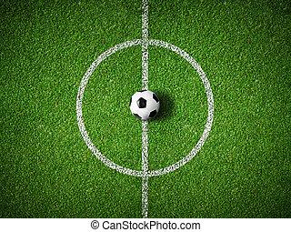 balle, centre, sommet, champ, fond, football, vue