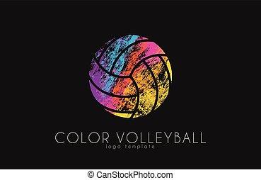 balle, couleur, volley-ball, créatif, logo, sport, logo., ball., design.