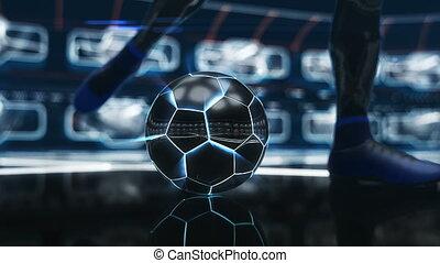 balle, coup, but, espace, néon, effet, flotter, football