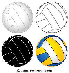 balle, ensemble, volley-ball