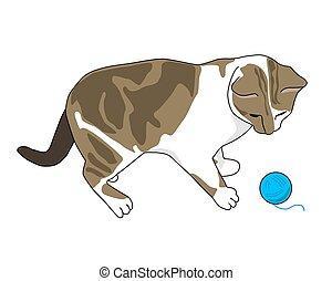 balle, fil, chaton
