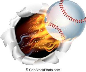 balle, flamboyant, base-ball, fond, trou, déchirure