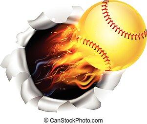 balle, flamboyant, fond, softball, trou, déchirure