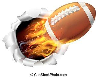balle, flamboyant, football, américain, fond, trou, déchirure