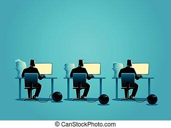 balle, fonctionnement, enchaîné, ordinateurs, hommes affaires, fer