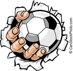 balle, football, déchirure, fond, main
