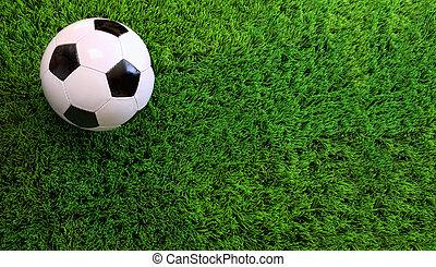balle, football, herbe verte