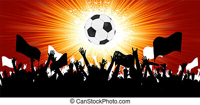 balle, foule, fans., eps, silhouettes, 8, football