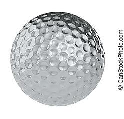 balle, golf, argent