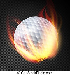 balle, golf, brûlé, isolé, illustration, fire., fond, style., transparent