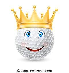 balle, golf, couronne or