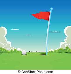 balle, golf, -, drapeau, green