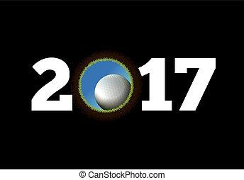 balle, golf, fond, année, nouveau, trou, tomber, heureux