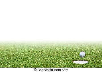 balle golf, herbe verte