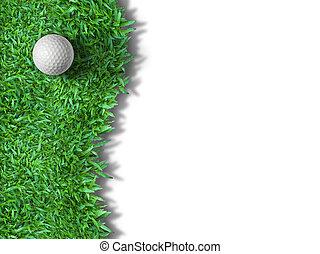 balle, golf, isolé, blanc vert, herbe