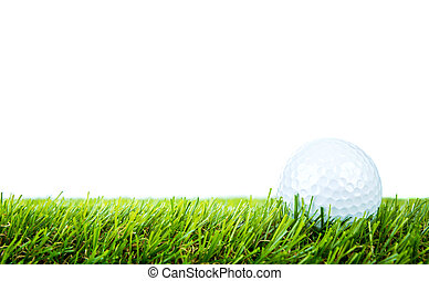 balle, golf, sur, arrière-plan vert, blanc, herbe