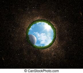 balle, golf, tomber
