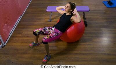 balle, gymnase, svelte, femme sports, séduisant, fitness, utilisation, exercice