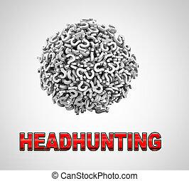balle, headhunting, point interrogation, sphère, 3d