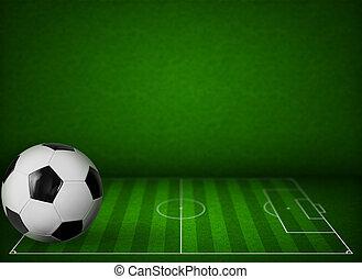 balle, herbe, champ football, fond, football, ou