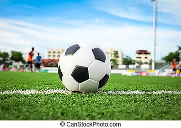 balle, herbe, vert, football