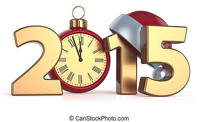 balle, horloge, reveil, année, 2015, nouveau, noël, heureux