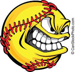 balle, image, softball, jeûne, figure, vecteur, pas, dessin animé