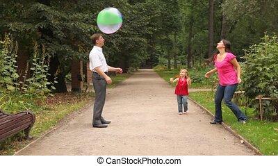 balle, jeux, famille, quelques-uns, parc, jeu
