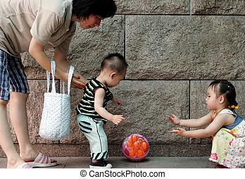 balle, jouer, famille