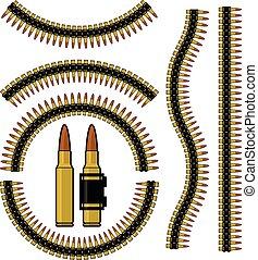 balle, machinegun, cartouche, ceinture