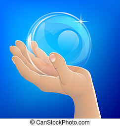 balle, main, verre, tenue, bulle, ou