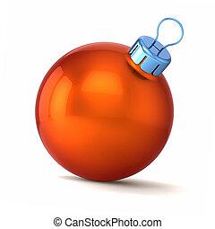 balle, noël, année, orange, nouveau, heureux, babiole, décor