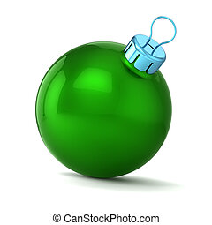 balle, noël, vert, année, nouveau, heureux, babiole, décor